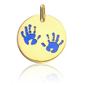 Médaille Empreintes Mains Acier Bleu & Or Jaune 18K
