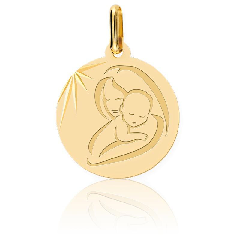 Médaille Vierge à l'Enfant Moderne Or Jaune
