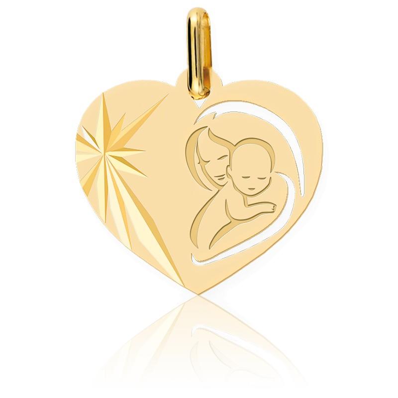 Médaille Cœur Vierge à l'Enfant Or Jaune