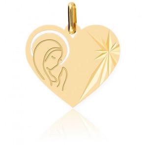 Médaille Cœur Vierge Auréolée Or Jaune