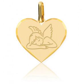 Médaille Cœur Ange Assoupi Or Jaune