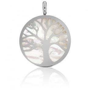 Médaille Arbre de Vie Nacre & Or Blanc