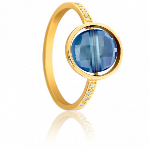Bague My Little Topaze Bleu London, Diamants & Or Jaune 18K