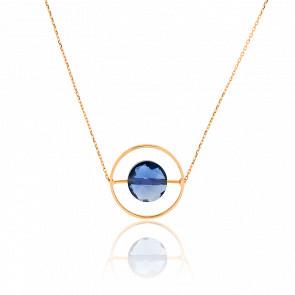Collier Petit Regard Topaze Bleu London & Or Jaune 18K