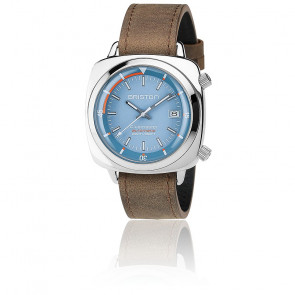 Clubmaster Diver Acier Light Blue Leather