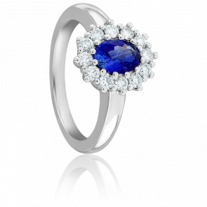 Bague Catherine Saphir, Diamants & Or Blanc 18K