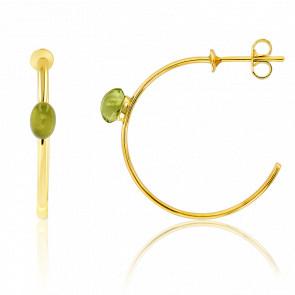 Boucles d'oreilles créoles, or jaune 18 carats et péridot