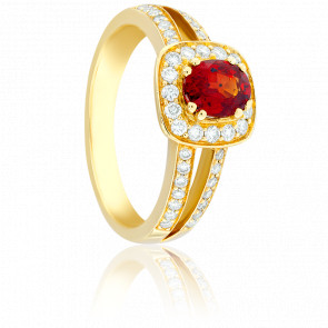 Bague Dahlia Rubis, Diamants & Or Jaune 18K