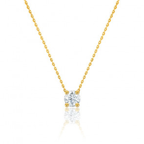Collier Diamant Solitaire I/SI & or jaune 18K