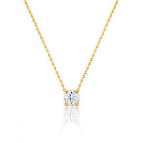 Collier Diamant Solitaire & Or Jaune 18K