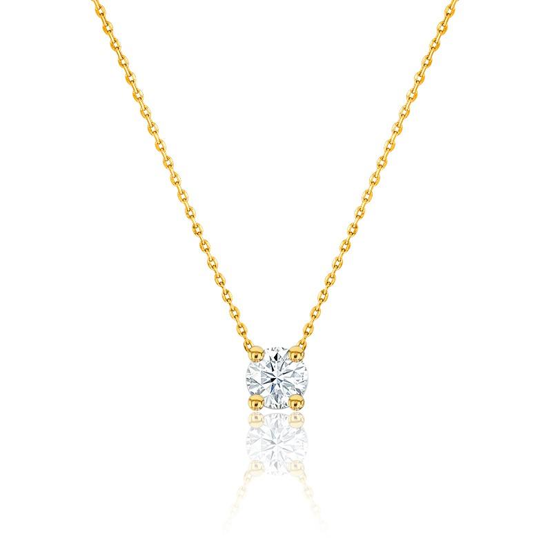 Collier Diamant Solitaire I/SI & or jaune 18K