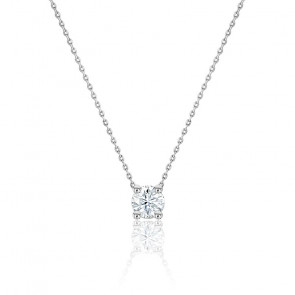 Collier Diamant Solitaire I/SI1 & Or Blanc 18K