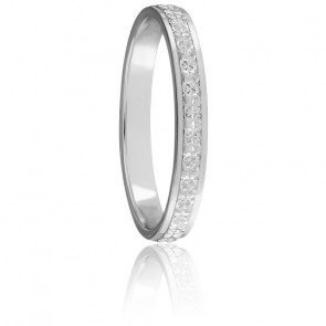 Alliance Ruban plat diamanté 2,50 mm Or Blanc 18K