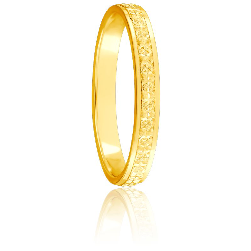 Alliance Ruban Plat Diamanté 2,50 mm & Or Jaune 18K