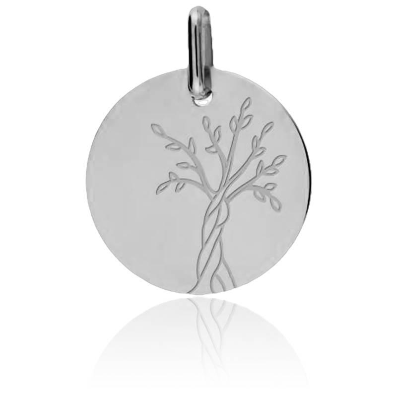Médaille Arbre de Vie Tronc Torsadé Or Blanc 9K