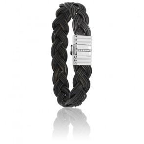 Bracelet 696 Poils Éléphant Tressé, Diamants & Or Blanc 18K