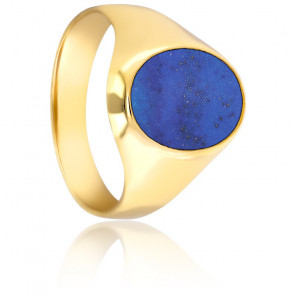 Chevalière Ovale Lapis Lazuli 11 x 14 mm & Or Jaune 18K