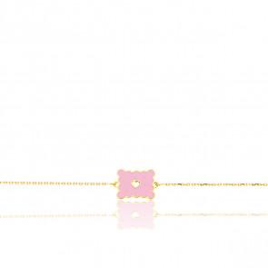 Bracelet Biscuit Coeur Rose Or Jaune 9K