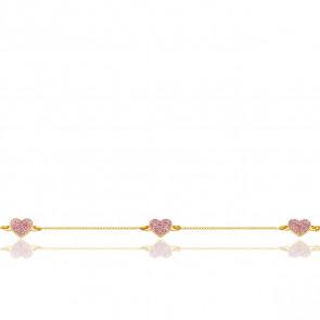 Bracelet Cœurs Pailletés Or Jaune 9K