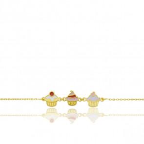 Bracelet Trois Cupcakes Or Jaune 9k