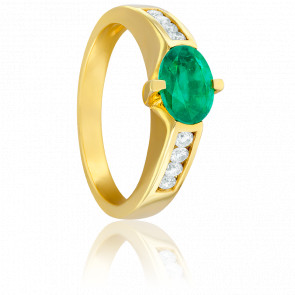 Bague Carolina Emeraude, Diamants & Or Jaune 18K