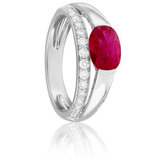Bague Leila Rubis, Diamants & Or Blanc 18K