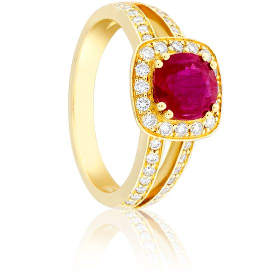 Bague Dahlia Rubis 1,20 ct, Diamants & Or Jaune 18K