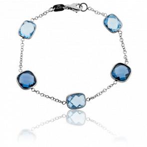 Bracelet Camaïeu Topazes Bleues & Or Blanc 18K