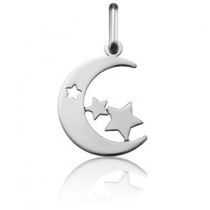 Pendentif Lune & Etoiles Or Blanc 18K