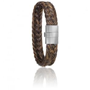 Bracelet 604/2 Crin de Cheval Marron, Acier & Or Blanc 18K