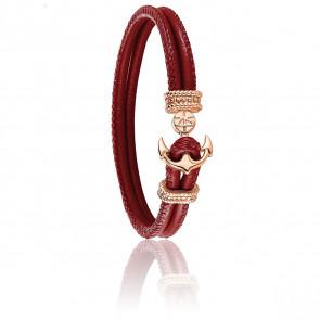 Bracelet Ancre Amarante & Plaqué Or Rose