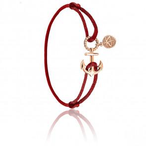 Bracelet Ancre Corde Amarante & Plaqué Or Rose