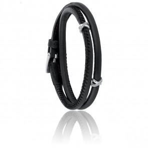 Bracelet A-Mer-Elle 2R Noir & Métal Rhodié