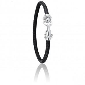 Bracelet A-Mer-Elle Noir & Métal Rhodié