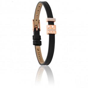 Bracelet Petit Voyage Noir & Plaqué Or Rose