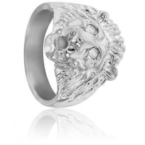 Chevalière Tête de Lion Diamants & Argent
