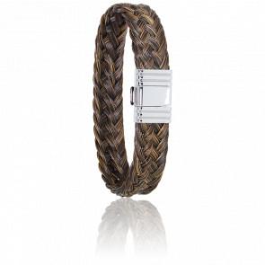Bracelet 696 Crin de Cheval Marron & Acier