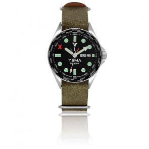 Spacegraf Edition Stratosphérique Bracelet Nato Cuir Kaki YMHF2016-AJDSN45