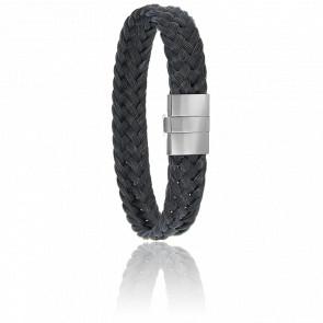 Bracelet 604/2 Crin de Cheval Noir, Acier & Or Blanc 18K
