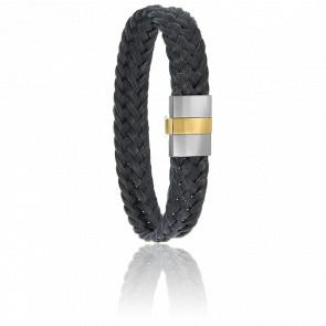 Bracelet 604/2 Crin de Cheval Noir, Acier & Or Jaune 18K