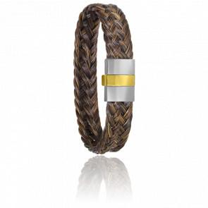 Bracelet 604/2 Crin de Cheval Marron, Acier & Or Jaune 18K