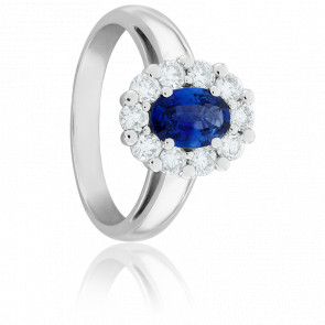 Bague Cathleen Saphir, Diamants & Or Blanc 18K