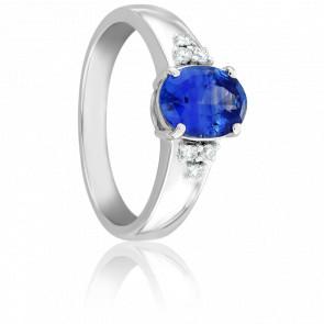 Bague Aurore Saphir, Diamants & Or Blanc 18K