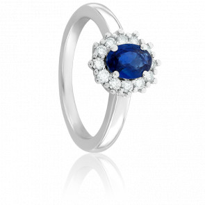 Bague Kate Saphir, Diamants & Or Blanc 18K