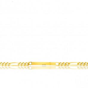 Gourmette Identité Maille Cheval Alterné 1-3, Or Jaune 18K, 22 cm