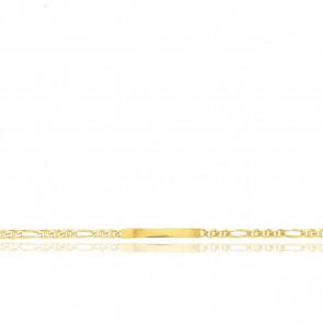 Gourmette Identité Maille Marine Alternée, Or Jaune 18K, 16 cm
