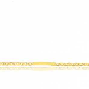 Gourmette Identité Maille Marine Plate, Or Jaune 18K, 16 cm
