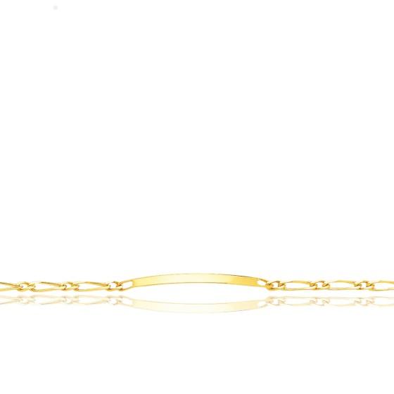Gourmette Identité Maille Cheval Alterné 1-1, Or Jaune 18K, 19 cm
