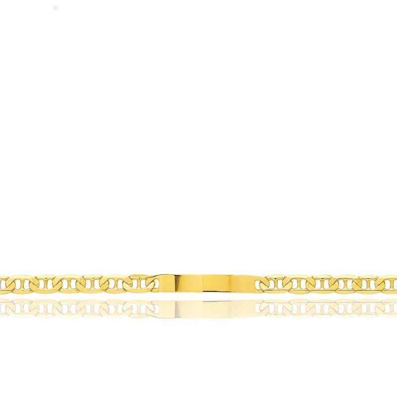 Gourmette Identité Maille Marine Plate, Or Jaune 18K, 19 cm