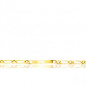 Gourmette Identité Maille Cheval Alterné, Or Jaune 18K, 23 cm